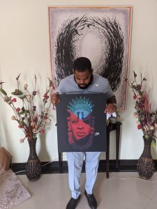 Holding the Queen Idia canvas